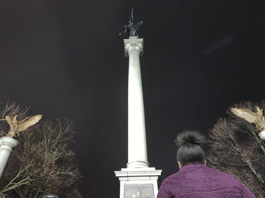 The Elijah P. Lovejoy monument stands 110-feet tall. The memorial pays tribute to Lovejoy's dedication to free speech and the abolition of slavery.